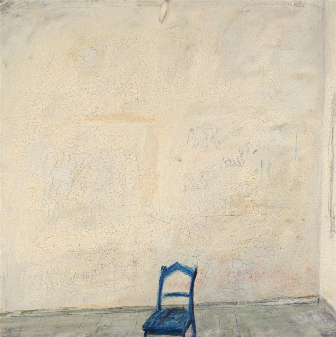 Klaus Fussmann. Interieur III. 1970.  Öl auf Leinwand. Signiert. (Krakelee).