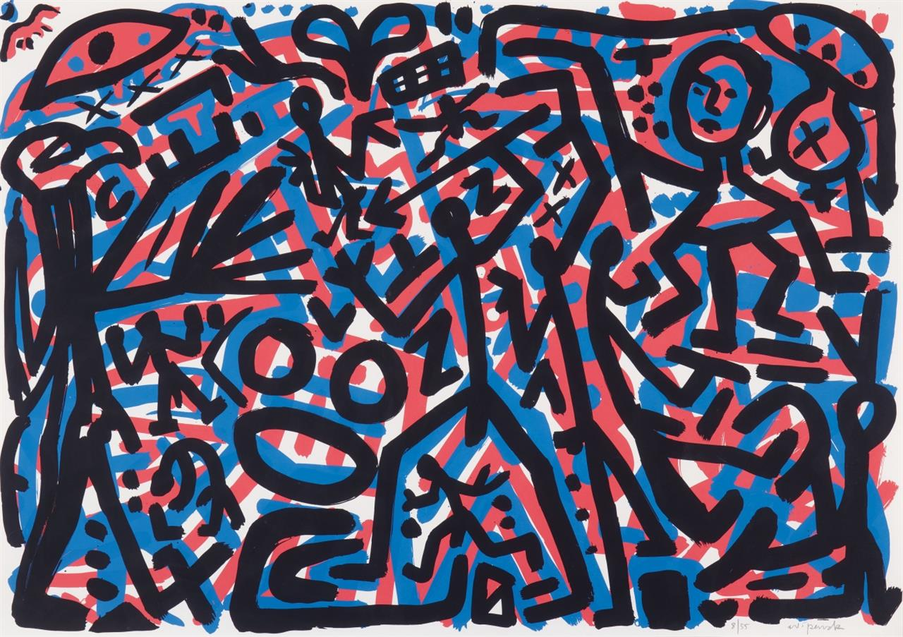 A.R. Penck. Ohne Titel. Farbserigraphie. Signiert. Ex. 8/55.