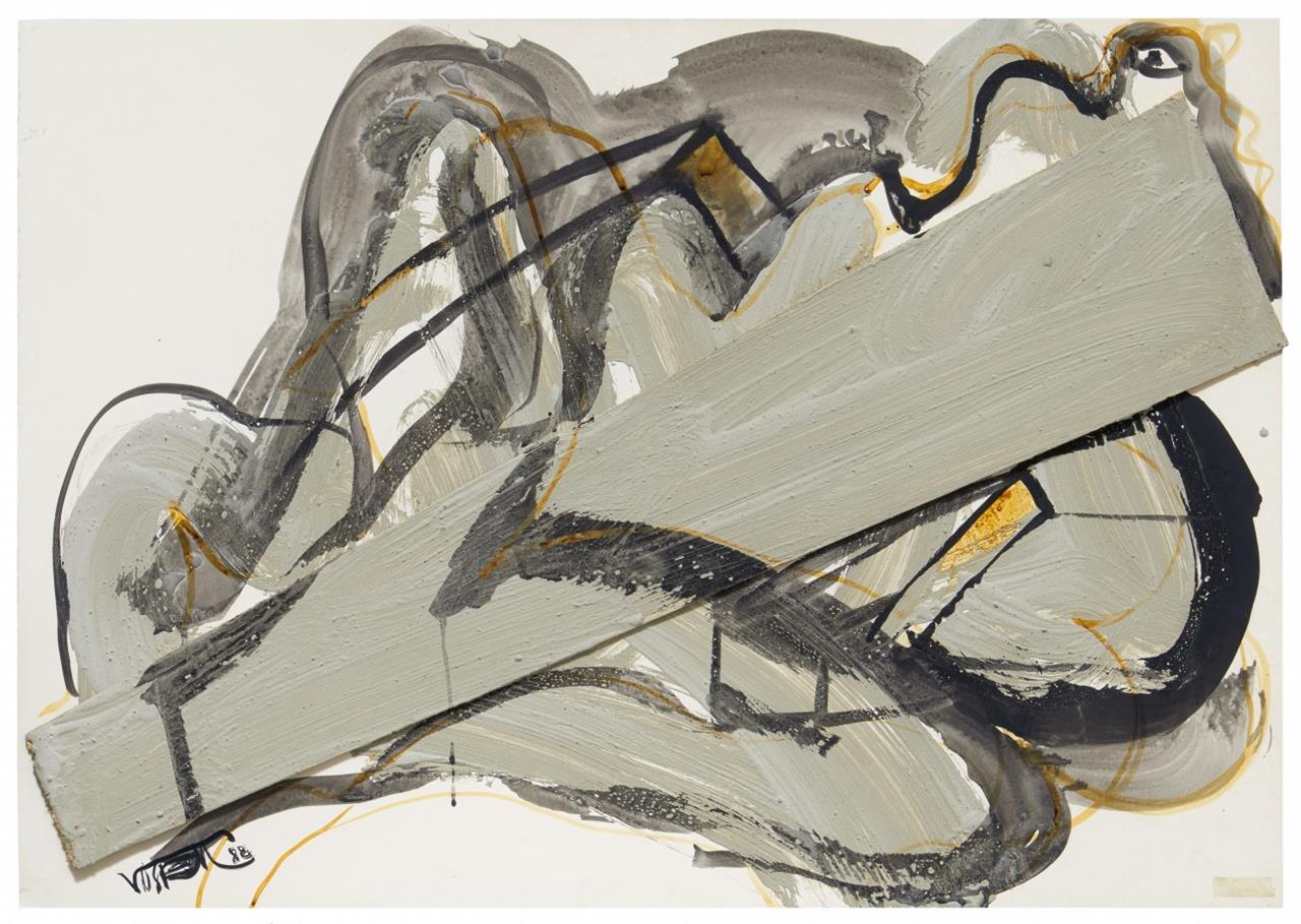 Wolf Vostell. Ohne Titel. 1988. Aquarell, Collage, Acryl und Zement. Signiert.