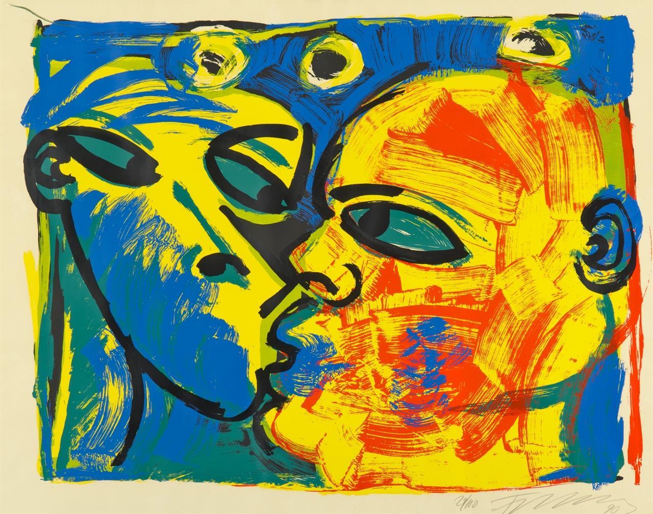 Rainer Fetting. Der Kuss. 1990. Farbserigraphie. Signiert. Ex. 29/100.