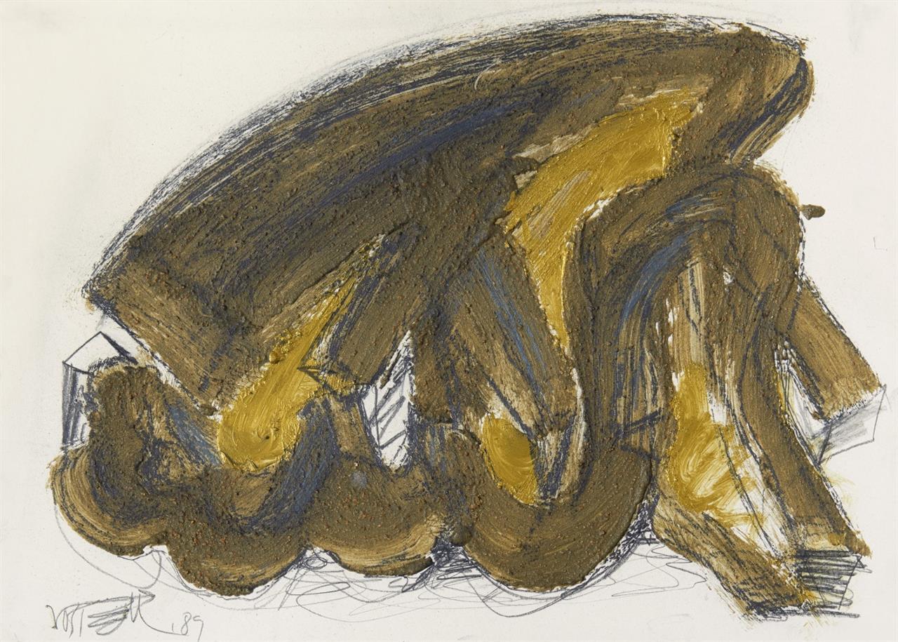 Wolf Vostell. Ohne Titel. 1989. 2 Blatt Graphit, Sand und Deckfarben auf Pappe. Je signiert.
