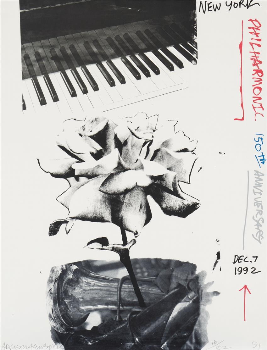 Robert Rauschenberg. New York Philharmonic 150th Anniversary. 1991-92. Farboffsetlithographie. Signiert. Ex. 16/102.
