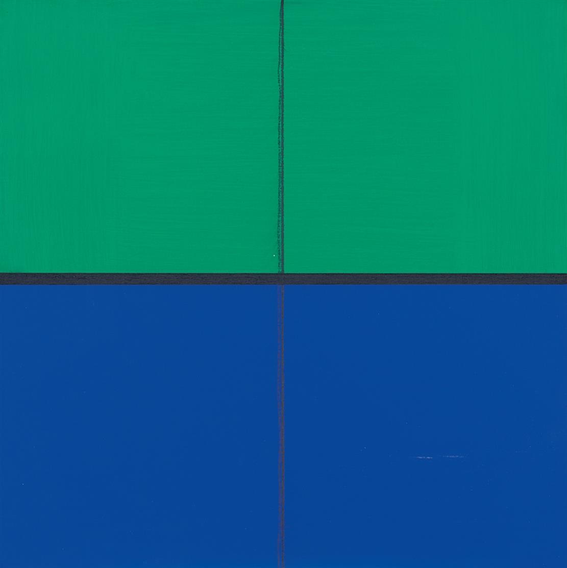 Günter Tuzina. With blue. 2004. Acryl und Kreide auf Holz. Signiert.