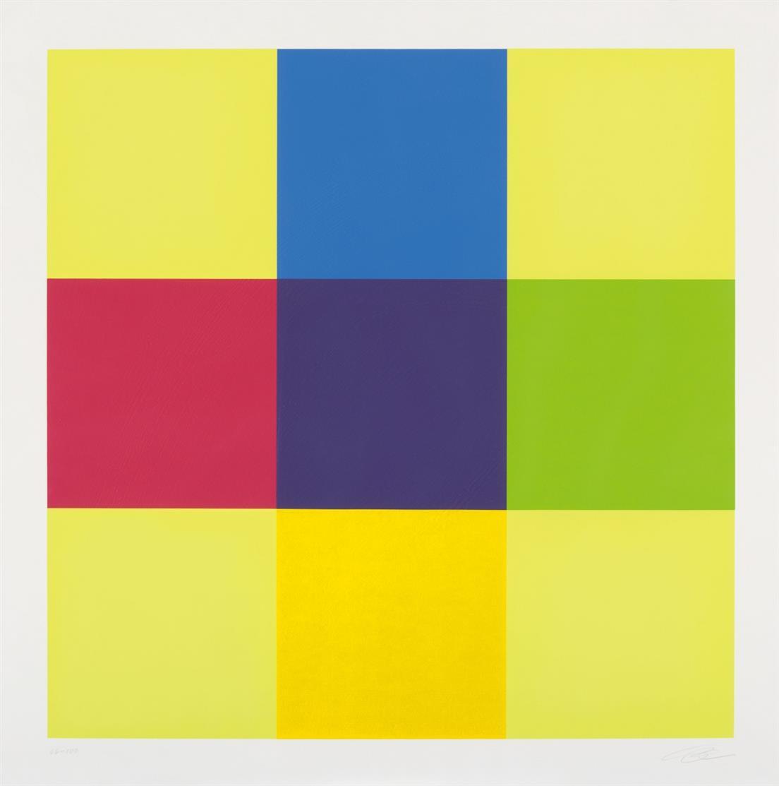Richard Paul Lohse. Aus: Modulare Ordnung. Farbserigraphie. Signiert. Ex. 66/100.