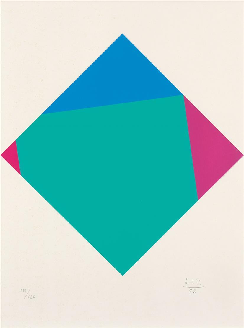 Max Bill. Transcolorationen. 1986. 8 Blatt Farbserigraphien. Je signiert. Ex. 101/120. + Text- und Titelblatt. Zus. 10 Blatt.
