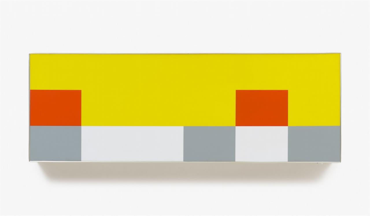 Daniel Pflumm. Ohne Titel. 2000. Lightbox. Aluminium, farbiges Plexiglas, Schalter. Eines von 5 Ex. (Ohne Kabel, Funktionstüchtigkeit nicht geprüft).