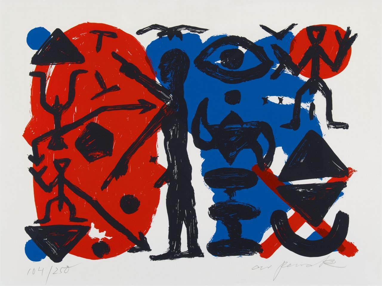 A.R. Penck. Ohne Titel. Farbserigraphie. Signiert. Ex. 104/250.