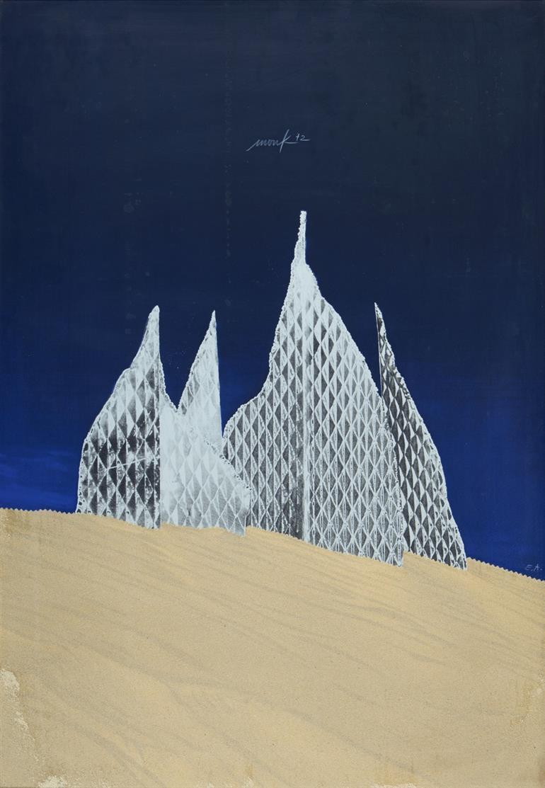 Heinz Mack. Lichtskulptur in der Wüste. 1972/73. Serigraphie und Sand. Signiert. Ex. E.A. Mack 243.