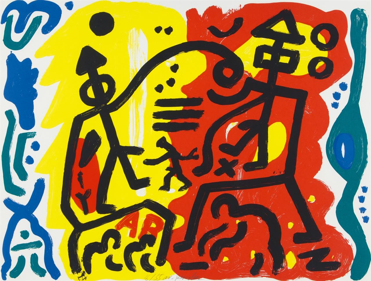 A.R. Penck. Ohne Titel. Farbserigraphie. Signiert. Ex. 16/55.