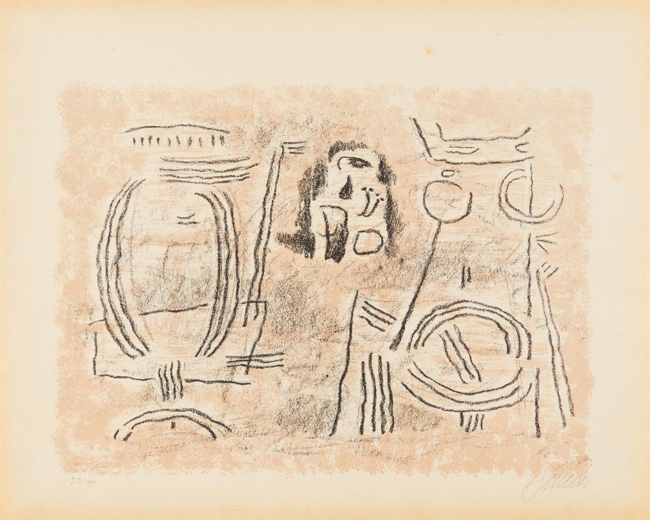 W. Baumeister, Sumerische Legenden. Folge von 10 Lithographien. Stuttgart 1947. - Ex. 22/100.