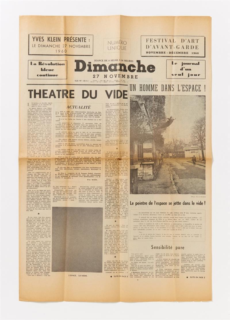 Yves Klein. Le Dimanche 27 Novembre. 1960. Zeitung.