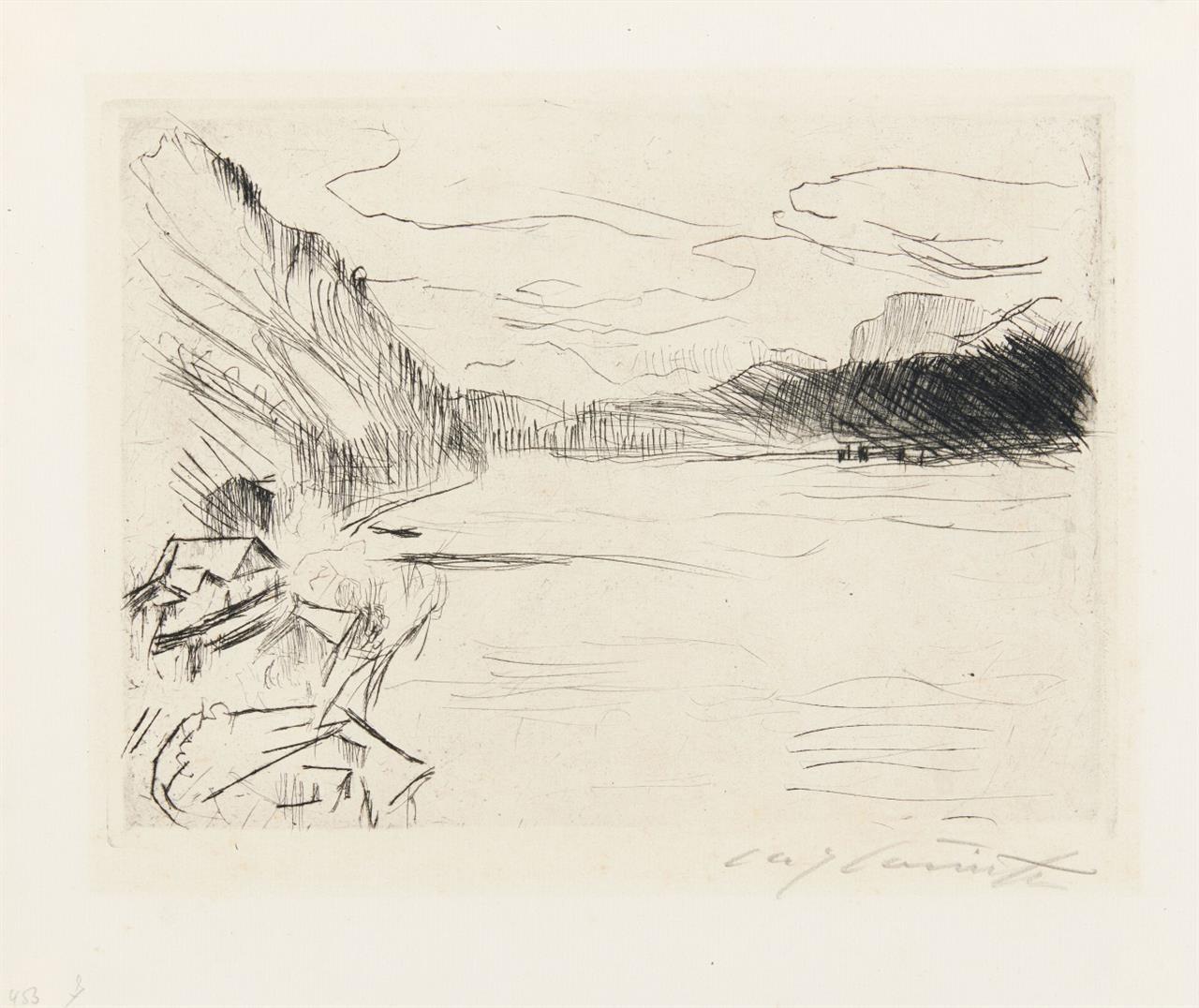 Lovis Corinth. Am Walchensee. 1923. Kaltnadelradierung. Signiert. Müller 674.