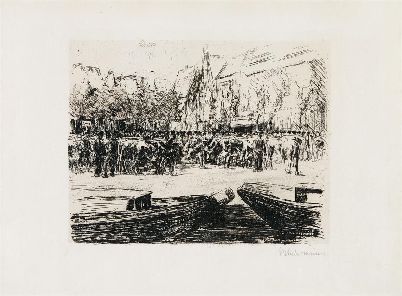 Max Liebermann. Rindermarkt in Leiden. 1900. Radierung. Signiert.