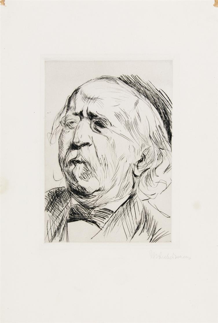 Max Liebermann. Porträt Prof. Dr. Cohen. 1912. Kaltnadelradierung. Signiert.