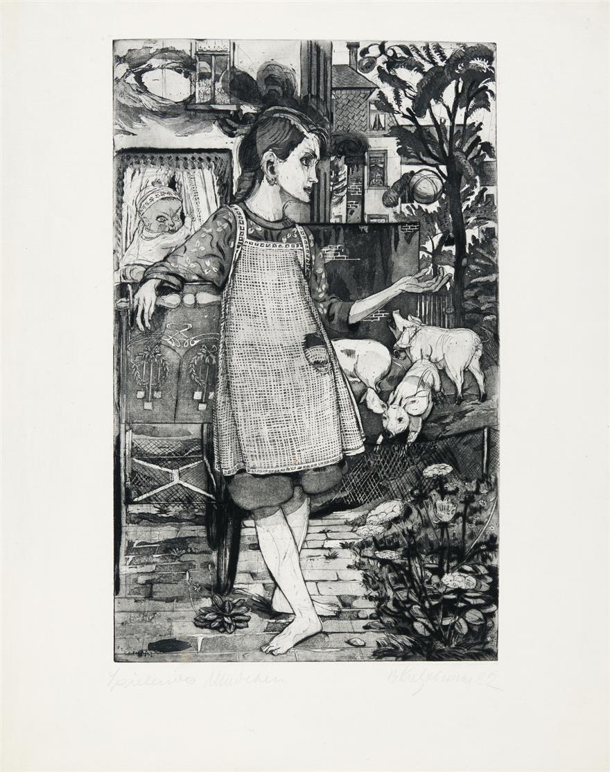 Bernhard Kretzschmar. Spielendes Mädchen. 1922. Kaltnadelradierung mit Aquatinta. Signiert.