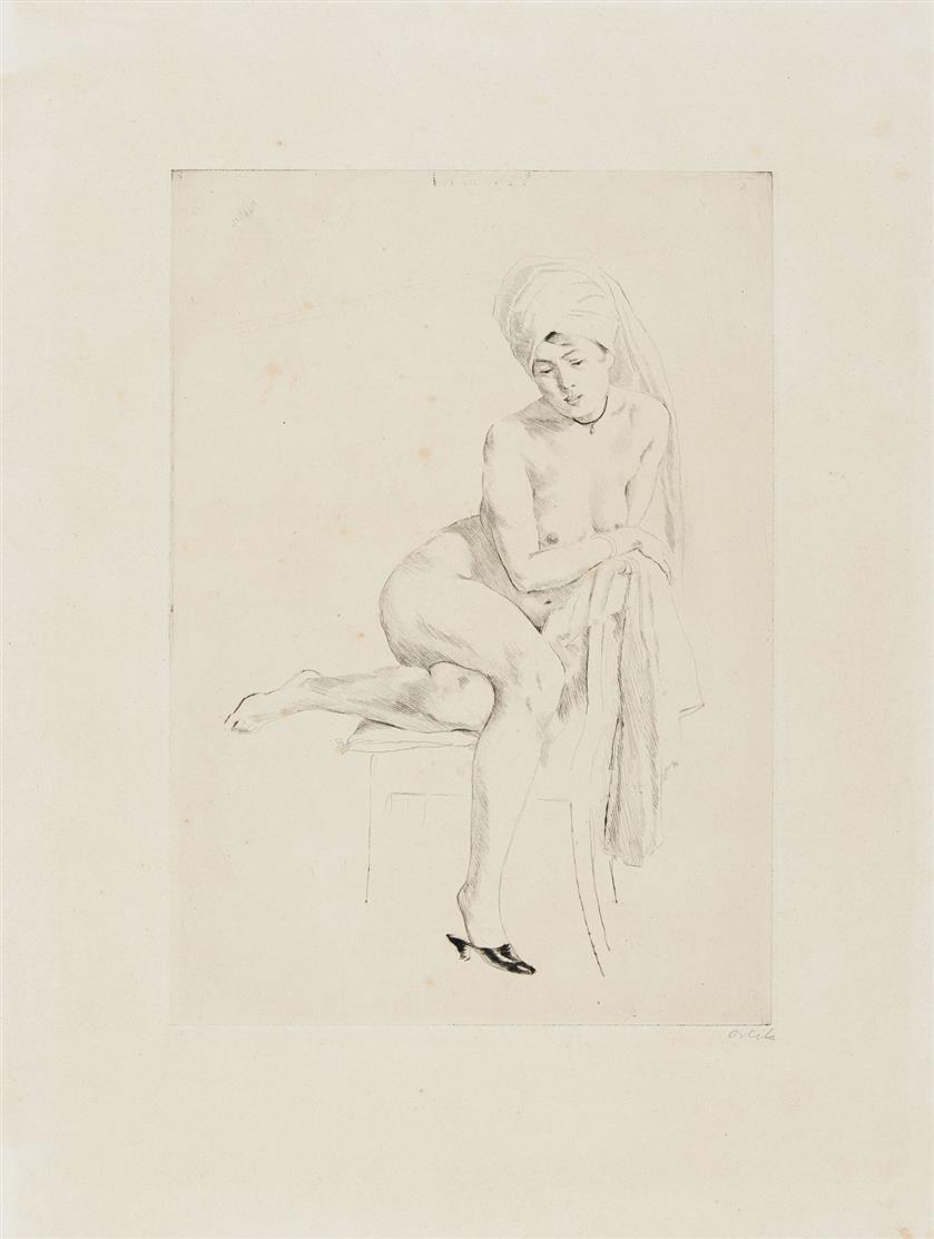 Emil Orlik. Akt mit Turban. 1915. Radierung. Signiert.