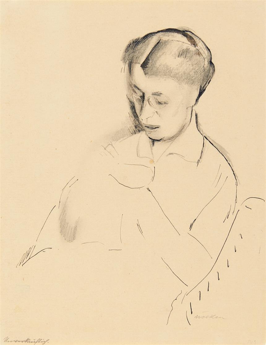 Franz Nölken. Porträtstudie einer nähenden Frau. Bleistift und Tusche. Signiert.