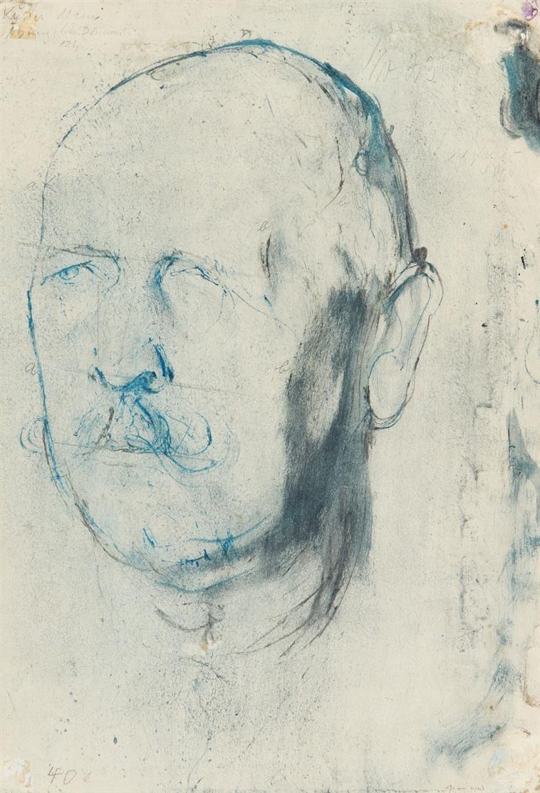 Josef Hegenbarth. Männerkopf. Um 1930. Pinselzeichnung. Signiert.