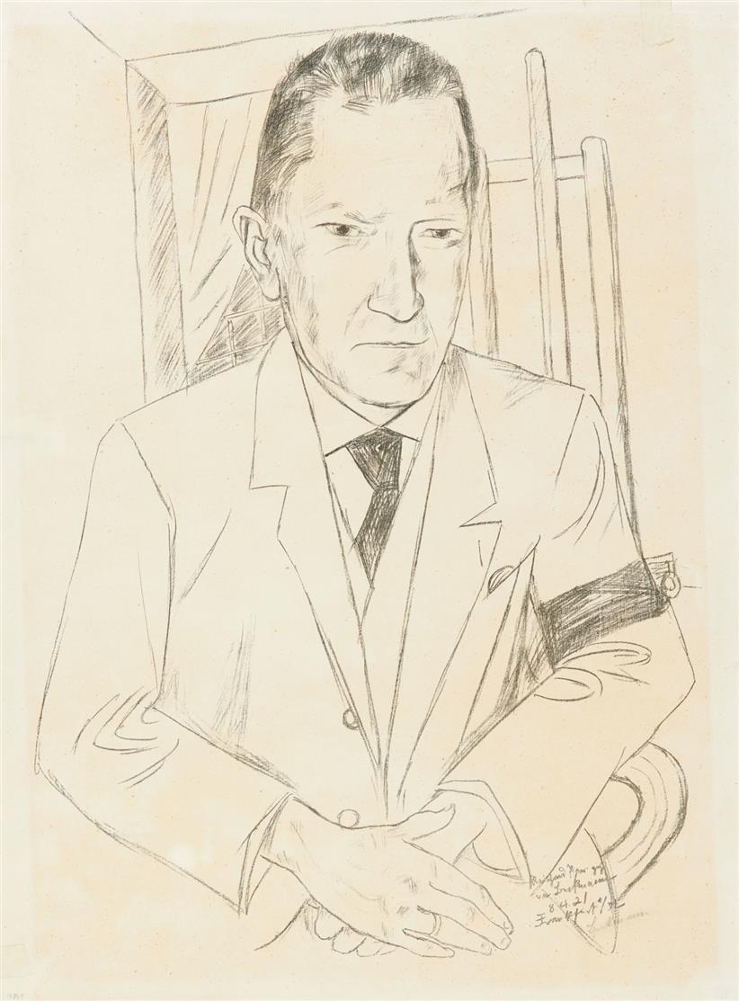 Max Beckmann. Bildnis Reinhard Piper. 1921. Lithographie. Signiert.
