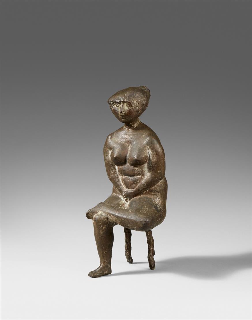Waldemar Grzimek. Sitzender weiblicher Akt. Bronze.