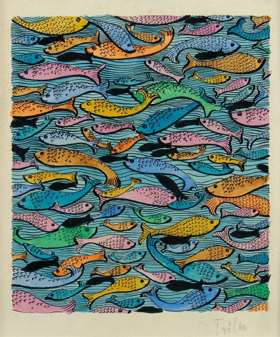 Heinz Trökes. Fische.Tuschfeder und Aquarell. Signiert.