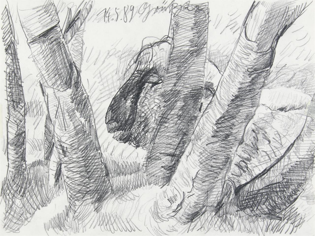 Johannes Grützke. Ohne Titel (Bäume). 1989. Bleistift. Signiert.