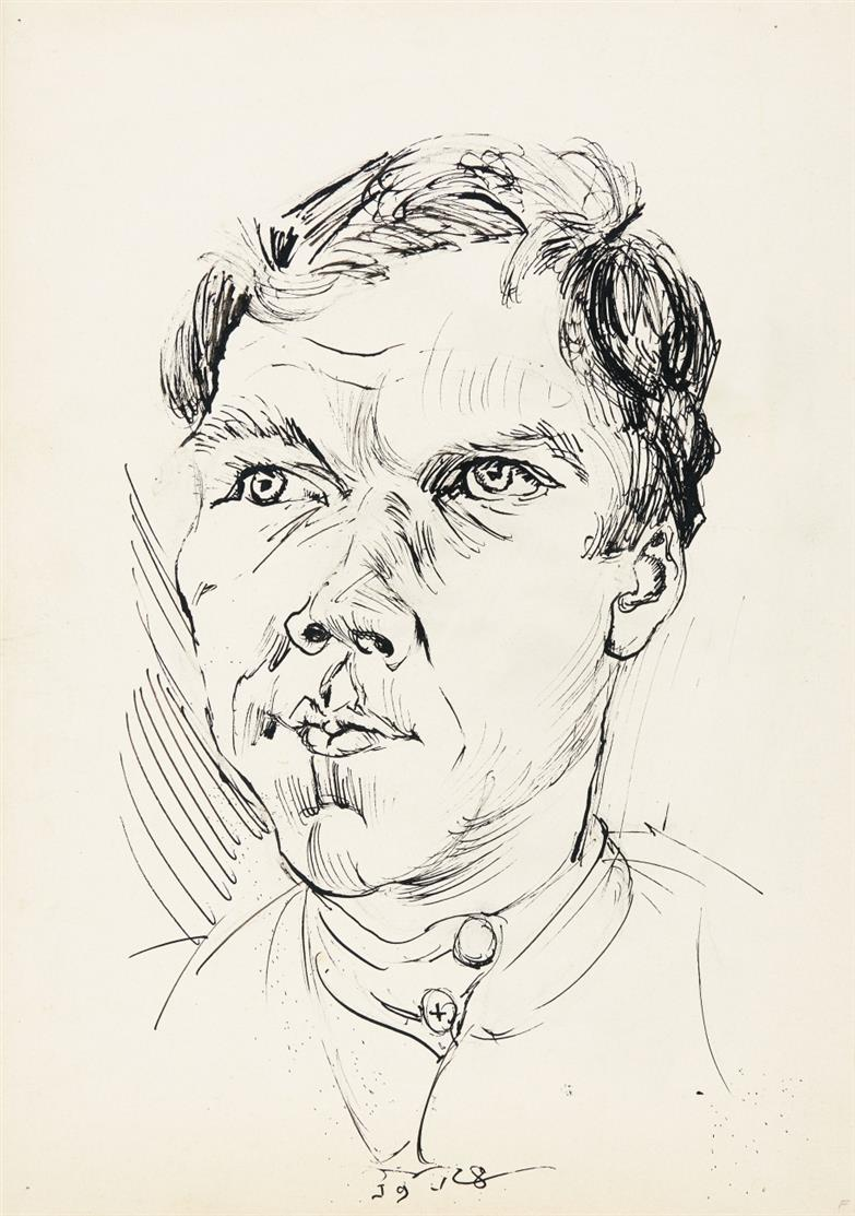 Ludwig Meidner. Russischer Kriegsgefangener. 1918. Tuschfeder. Signiert.