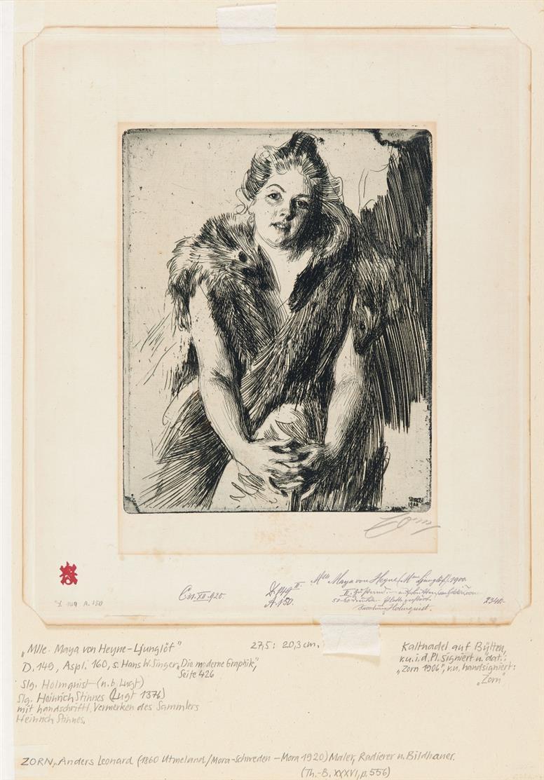 Anders Zorn. Mlle Maya von Heyne. 1900. Radierung. Signiert.