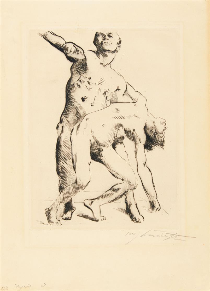 Lovis Corinth. Odysseus und die Freier. 1914. Kaltnadelradierung. Signiert. Schwarz 172.