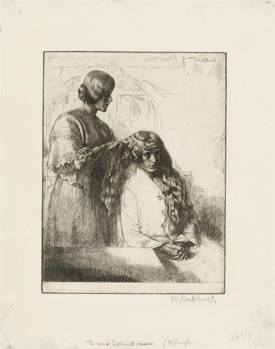 Gerald Leslie Brockhurst. By the window / Yolande / Deux Landaises. 1923. 3 Radierungen. Je signiert.
