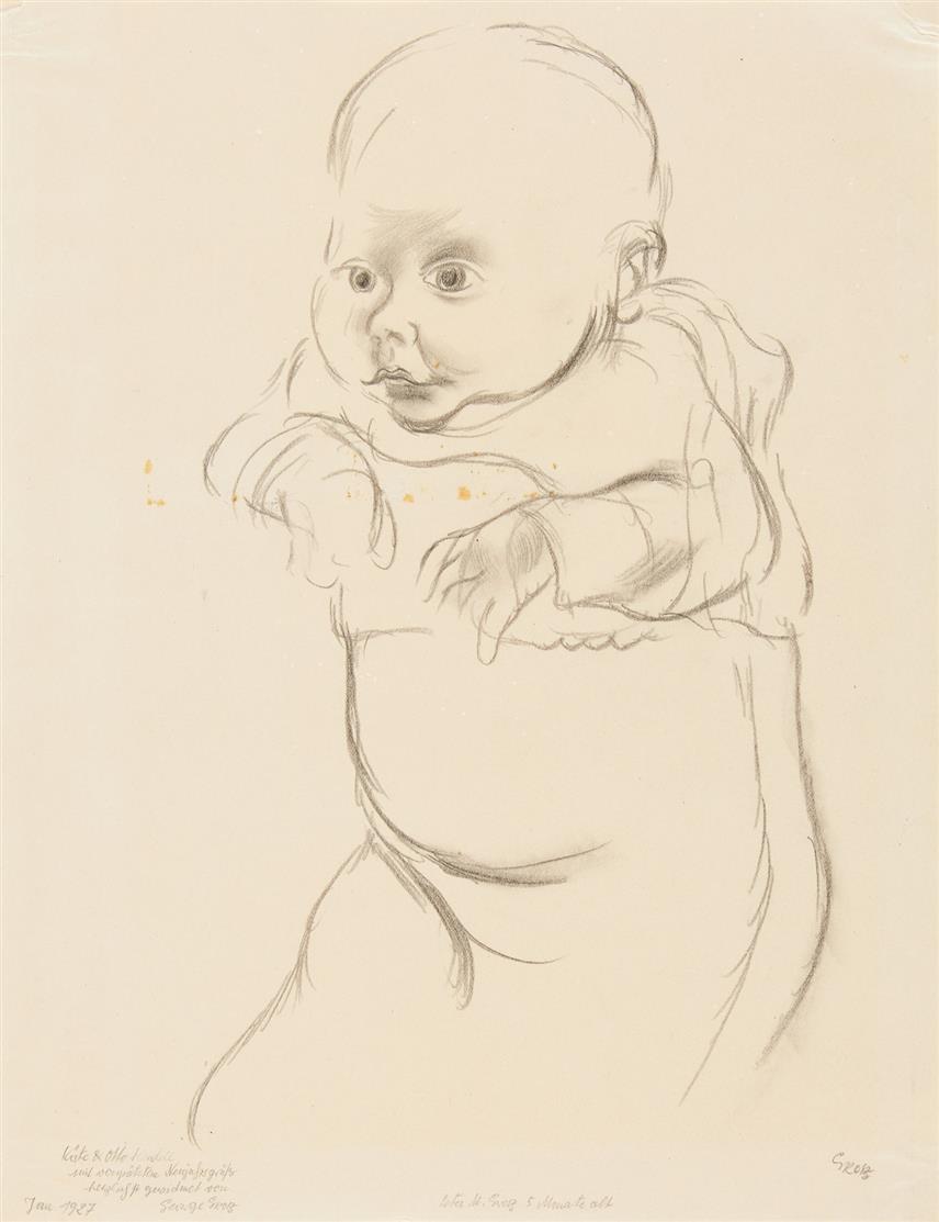 George Grosz. Peter M. Grosz 5 Monate alt. 1927. Bleistift. Signiert. Widmung.