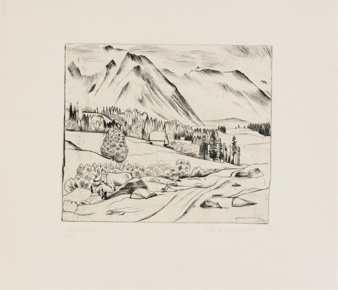 Bernhard Kretzschmar. Bildnis Friedrich Kurt Benndorf. 1920. / Landschaft. 1924. 2 Blatt Radierungen. Je signiert.