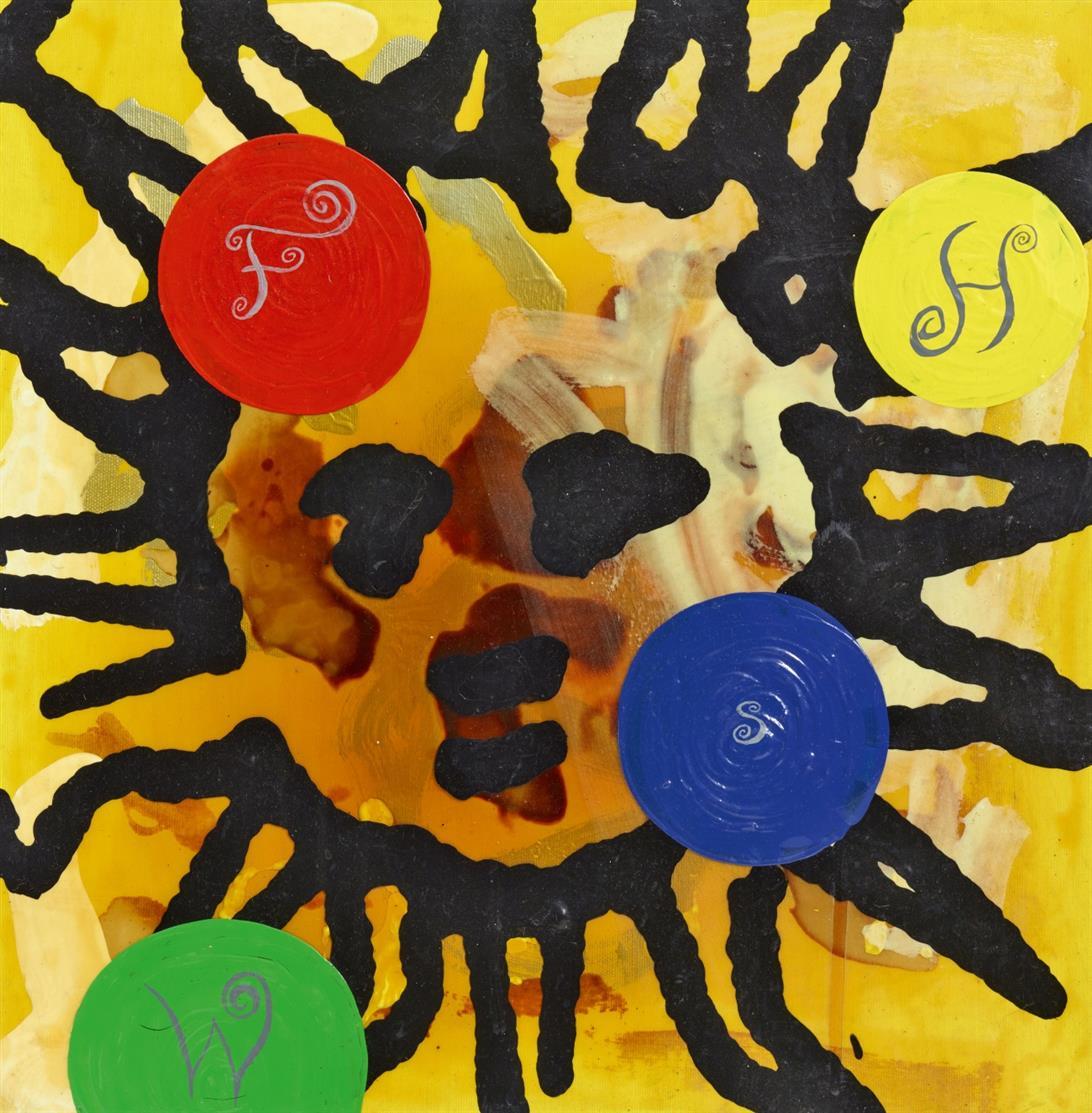 Walter Dahn, Jirí Georg Dokoupil & Dieter Fuchs. Ohne Titel (Sonne). 1986/87. Mischtechnik mit fluoreszierender Farbe auf Leinwand. Gemeinschaftsarbeit, verso signiert bzw. monogrammiert.