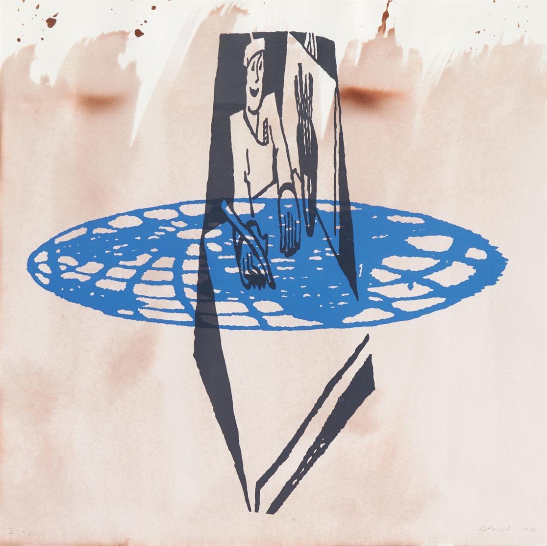 Jiri Georg Dokoupil. Ohne Titel. 1986. Farbserigraphie über Aquarell. Signiert. Ex. IV a.p.