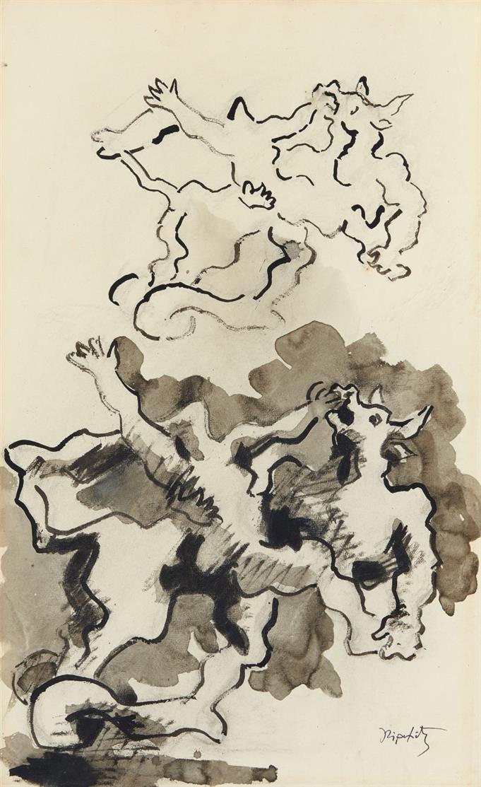 Jacques Lipchitz. Ohne Titel. Tusche, laviert. Signiert.+ Beilage: 2 Bücher, Kat. 1971 / Bildhauerzeichnungen.