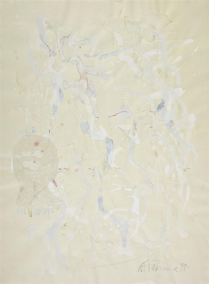 Gerhard Hoehme. La testa del colore. 1977. Aquarell, Collage, Deckweiß. Signiert.