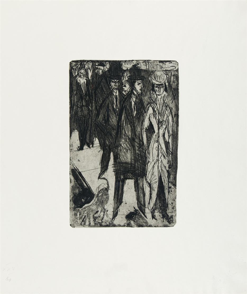 Ernst Ludwig Kirchner. Ansprachen II. 1914 (Nachlassdruck 1979). Radierung. Dube 179 II.