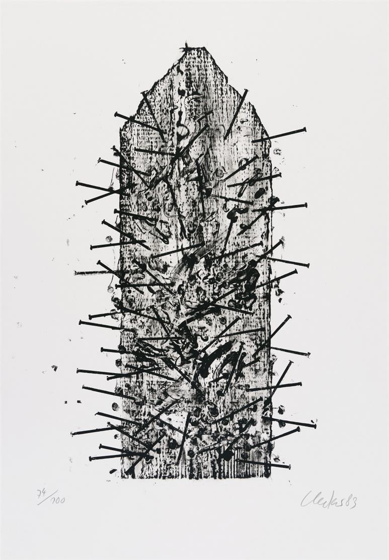 Günther Uecker. Goslar. 1983. Lithographie. Signiert. Ex. 74/100.
