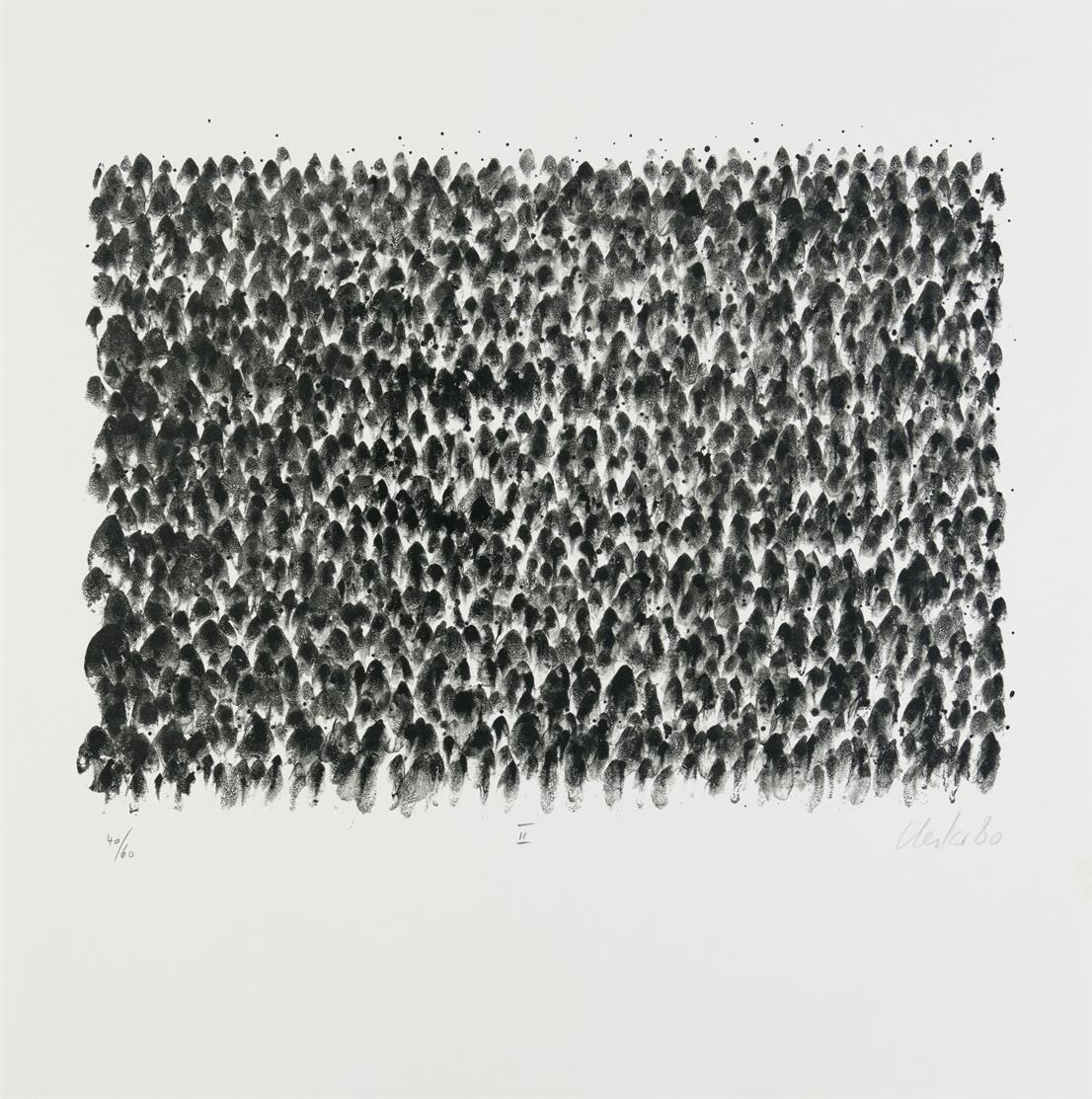 Günther Uecker. Drei Beete im zärtlichen Garten. 1980. Mappenwerk mit 3 Blatt Lithographien, 1 Blatt lithogr.Titel, 1 Blatt Druckvermerk. Signiert. Ex. 40/60 (GA 75 Ex.).