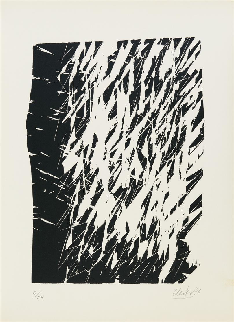 Günther Uecker. 5 Bäume. 1986. 5 Blatt Holzschnitte in OrMappe. Signiert. Ex. 5/54.