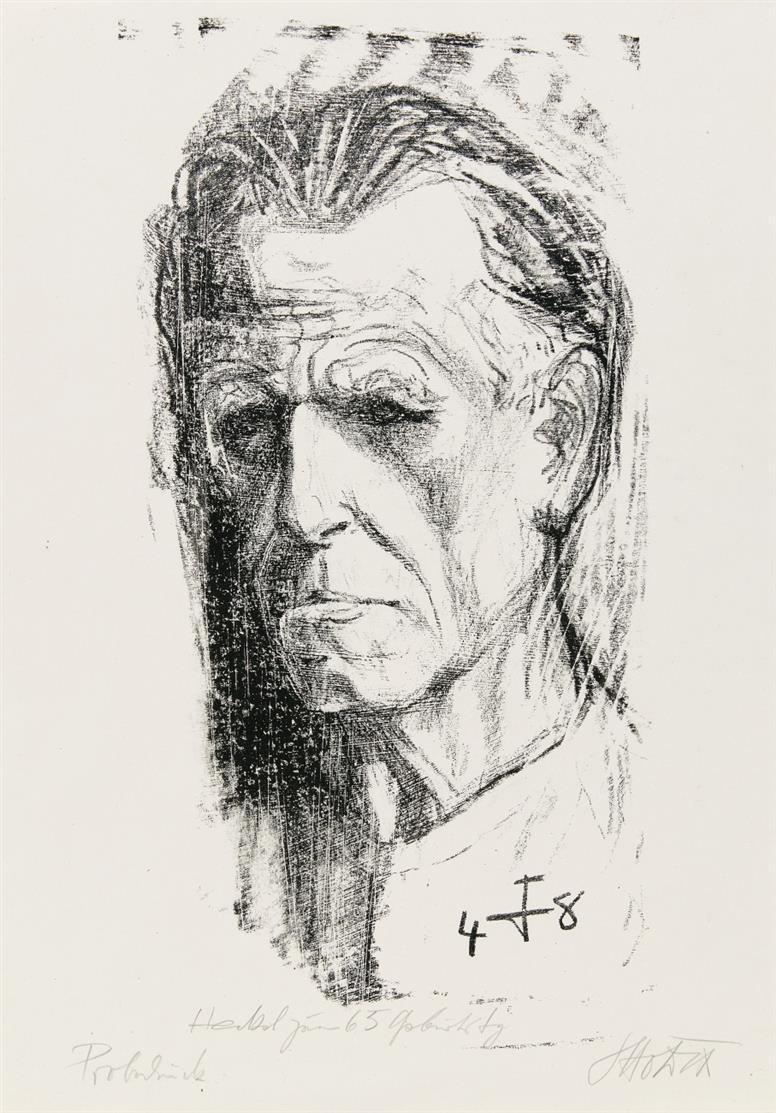 Otto Dix. Selbstbildnis II (nach links, Kragenlinie dünn). 1948. Lithographie. Signiert und bezeichnet. Probedruck.