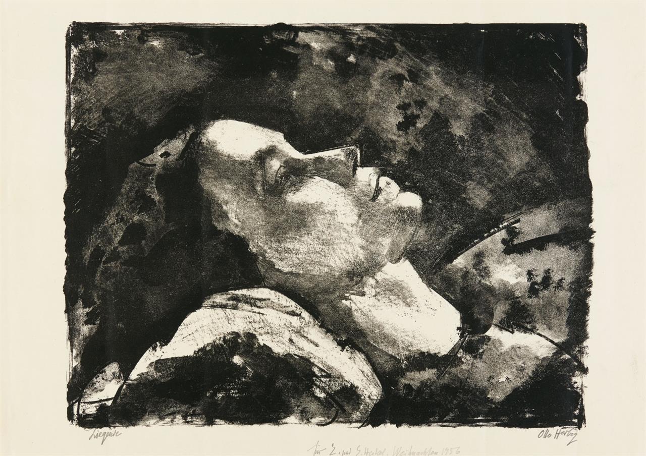 Otto Herbig. Liegende. Lithographie. Signiert und gewidmet.