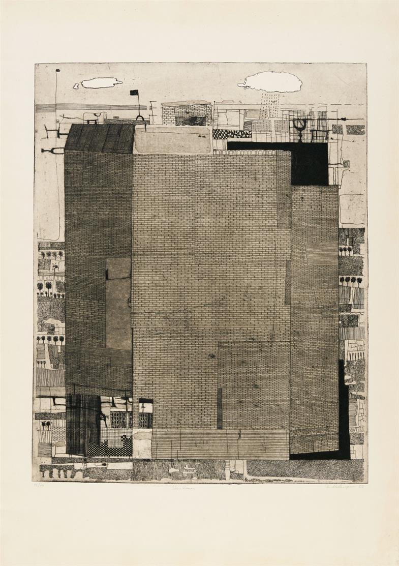 Friedrich Meckseper. Steinhaus. 1958. Radierung. Signiert. Ex. 16/70. Schmücking 21.