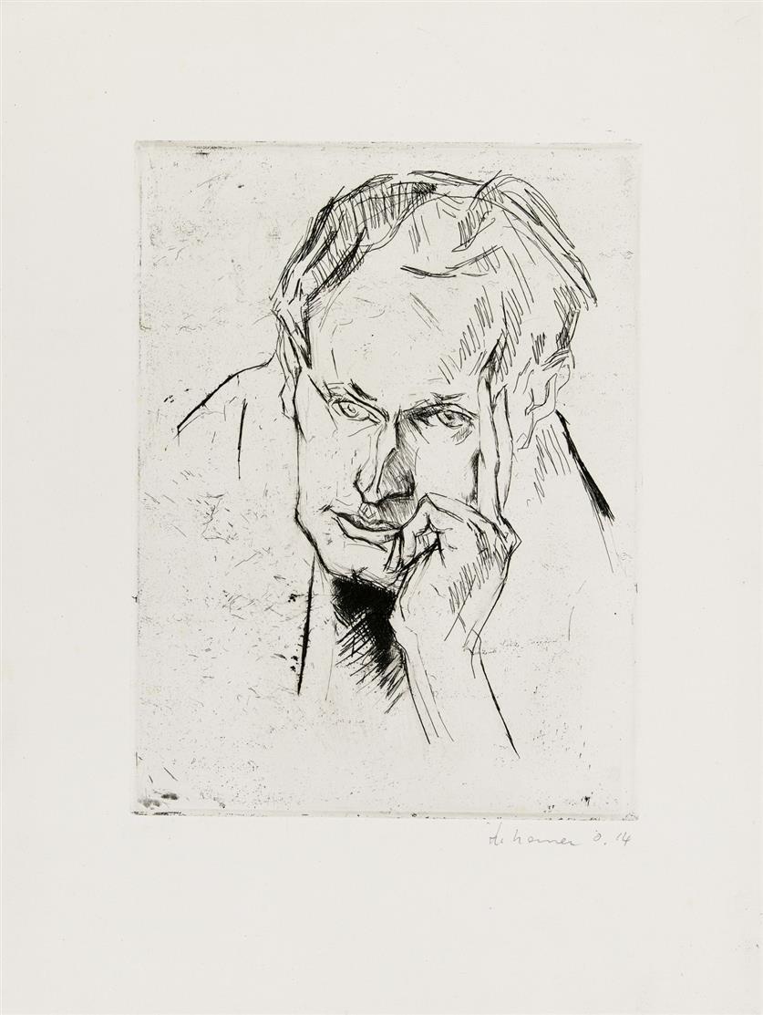 Heinrich Nauen. Bildnis Erich Heckel. 1914. Radierung. Signiert.