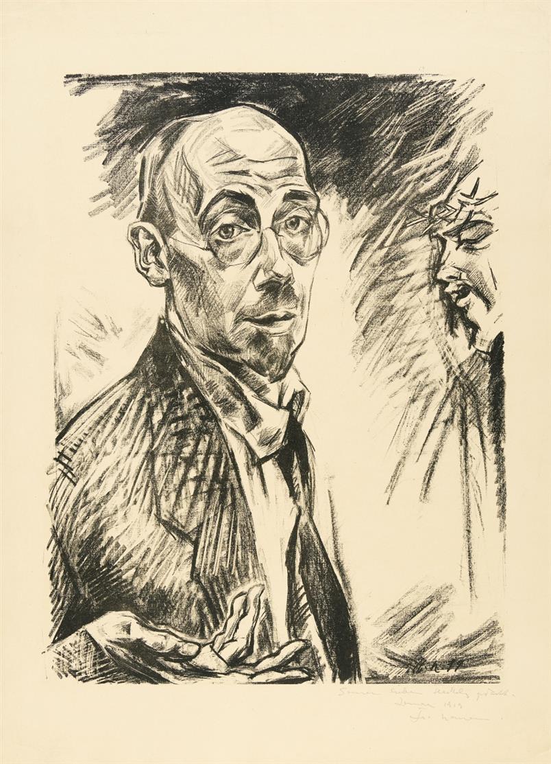 Heinrich Nauen. Selbstbildnis. 1919. Lithographie. Signiert und gewidmet.