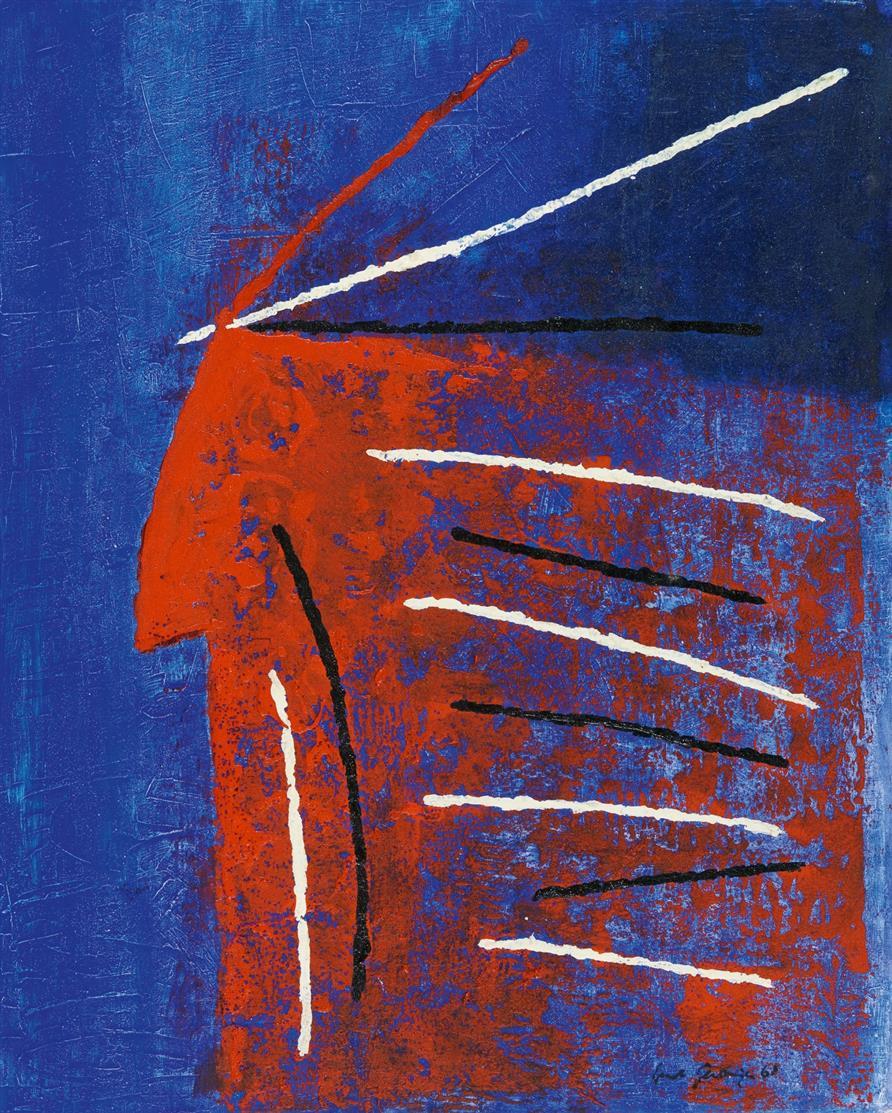 Ernst Geitlinger. Rothaut. 1961. / Blaue Blattformen.1957. 2 Blatt Mischtechnik mit Deckfarbe und Kratztechnik. Jeweils signiert.