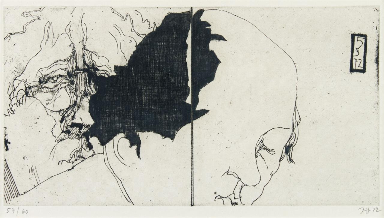 Horst Janssen. Ohne Titel (zu: Subversionen). 1972 / Ohne Titel (zu: Froschland). 1972. 2 Blatt Radierungen. Signiert. Ex. 57/60 bzw. 8/20. F. 12 bzw. 41.