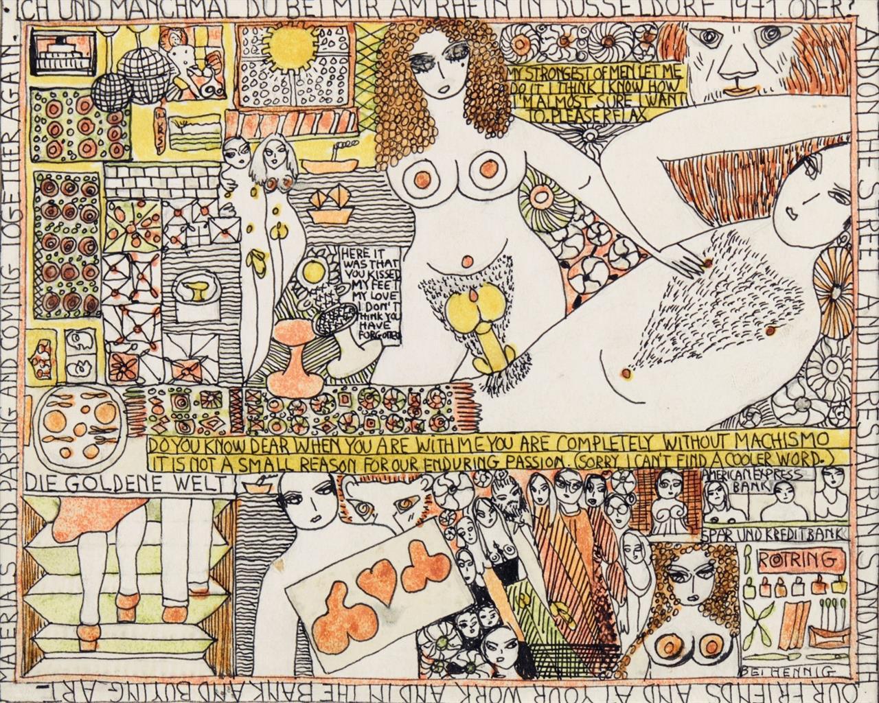 Dorothy Iannone. Ich und manchmal du bei mir... 1971. Filzstift und schwarzer Fineliner über Bleistift.