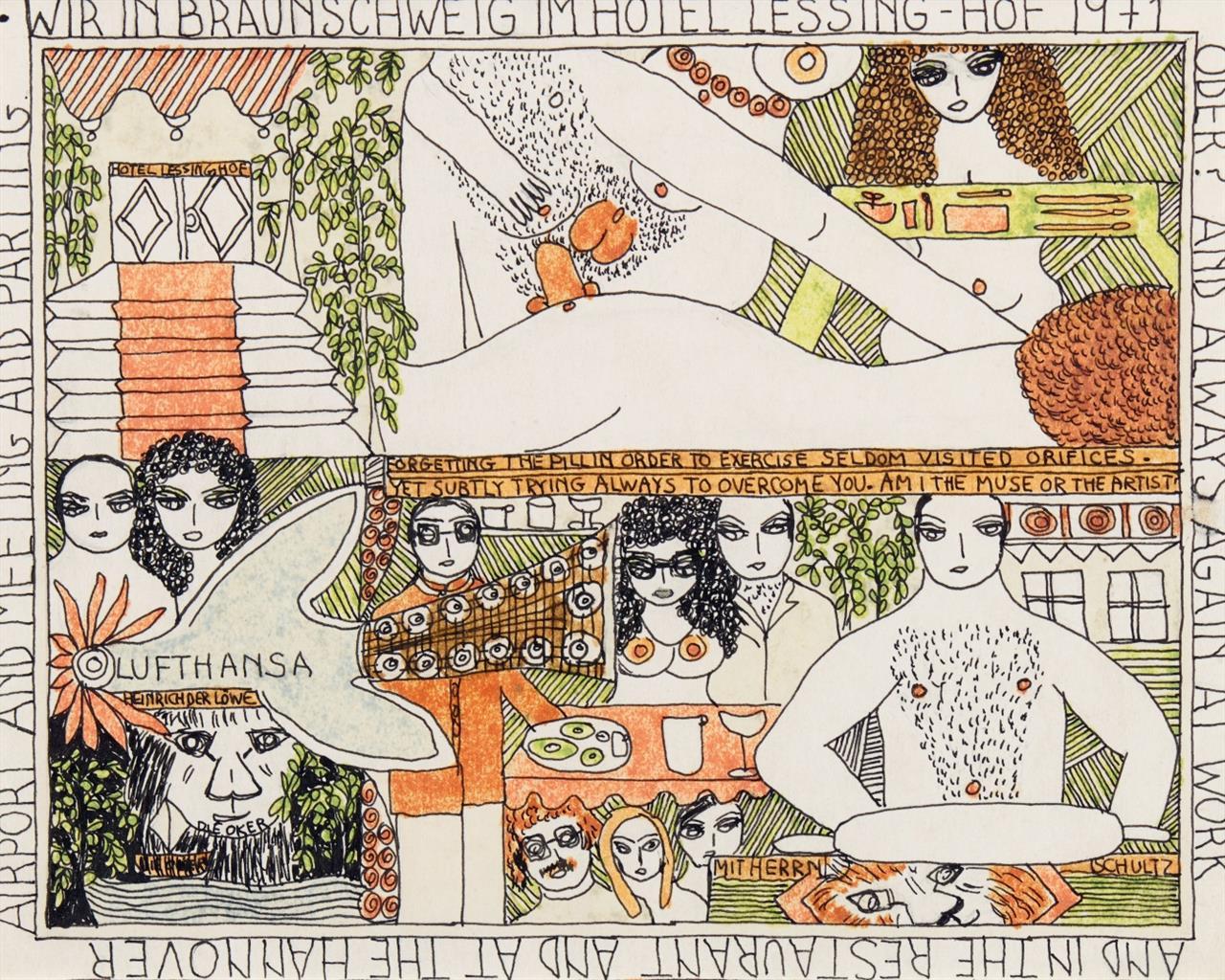 Dorothy Iannone. Wir in Braunschweig im Hotel Lessing-Hof... 1971. Filzstift und schwarzer Fineliner.