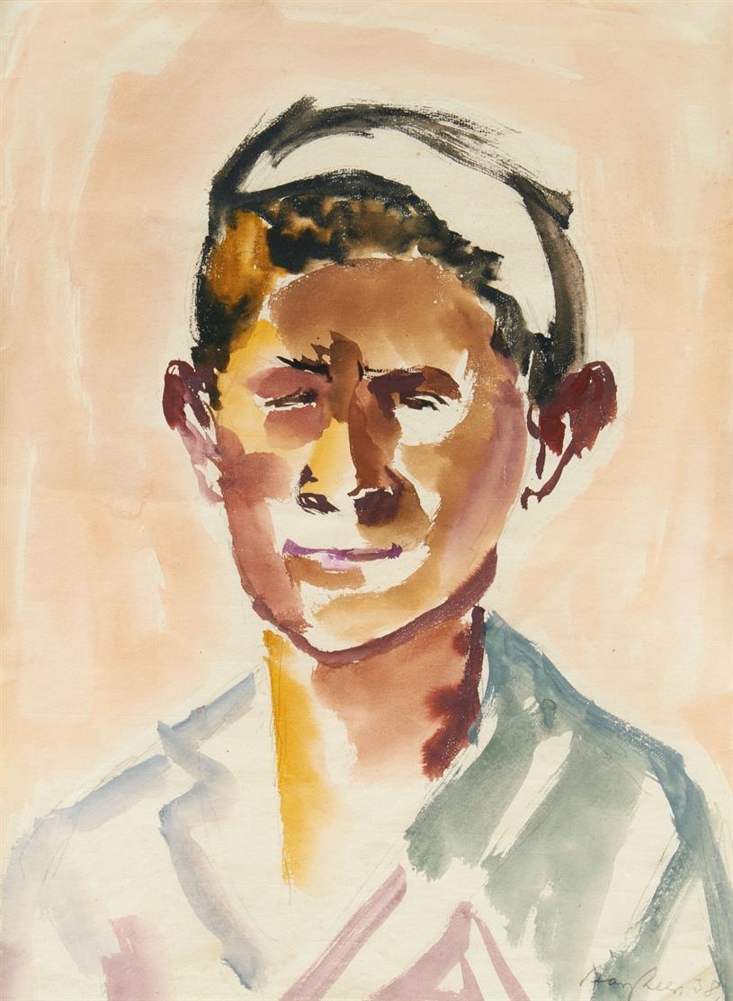 Eduard Bargheer. Ohne Titel (Kopf). 1938. Aquarell über Bleistift. Signiert.